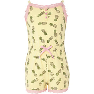 Girls yellow pineapple cami pyjama playsuit