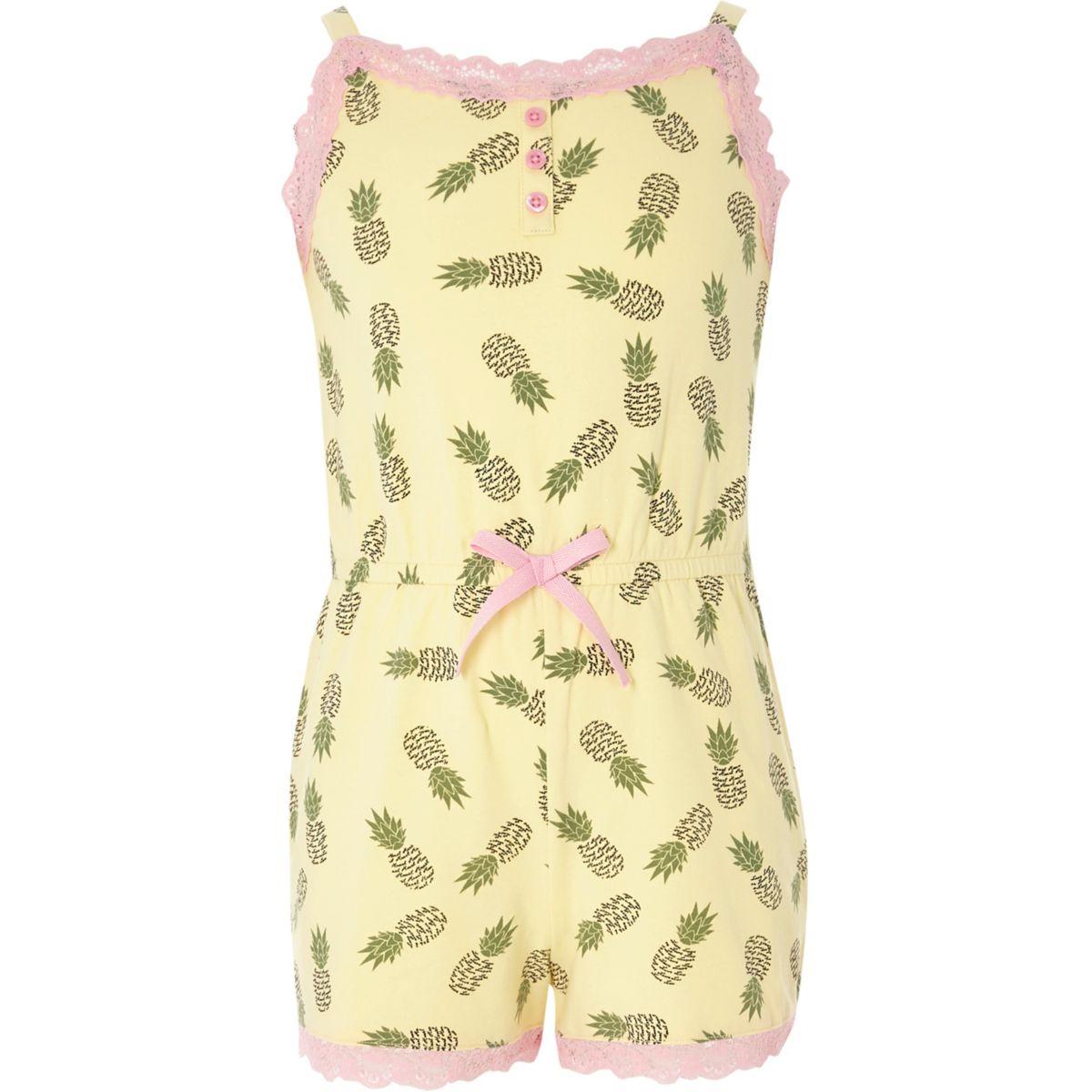 Girls yellow pineapple cami pajama romper