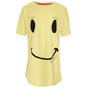 Chemise de nuit jaune avec tête de smiley pour fille