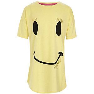 Gele nachtpon met smiley voor meisjes