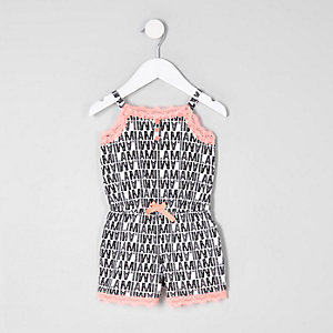 Mini girls mono lace trim pajama romper