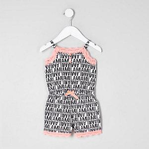 Combi-short pyjama noir et blanc à bordure en dentelle mini fille