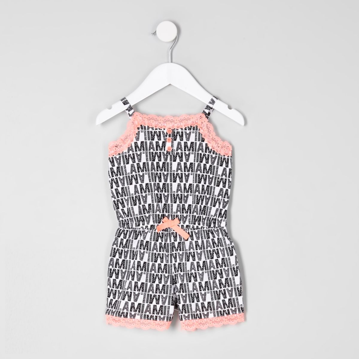 Mini girls mono lace trim pyjama playsuit