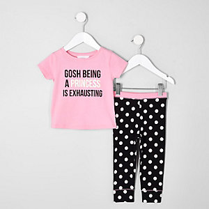 Mini girls pink 'princess' print pyjama set