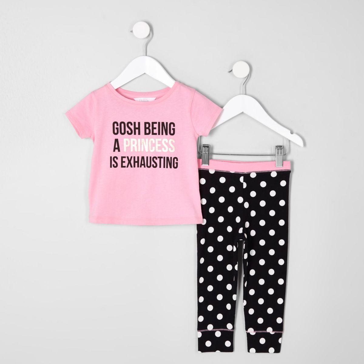 Mini girls pink 'princess' print pajama set