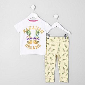 Gelbes Pyjama-Set mit Ananas-Print