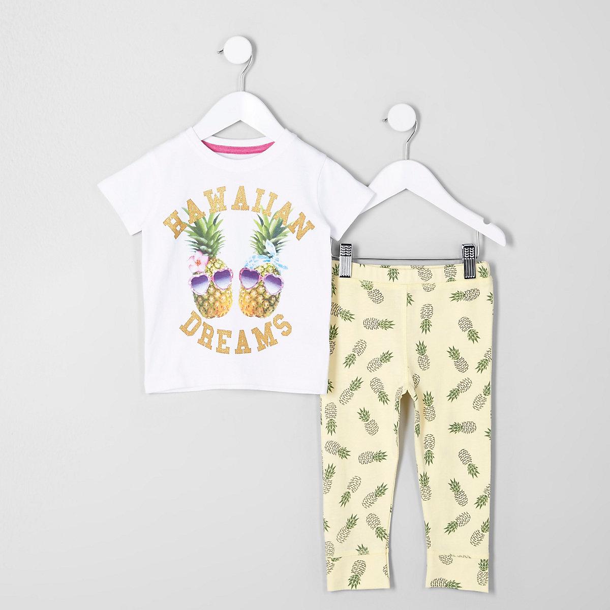 Mini girls yellow pineapple print pyjama set