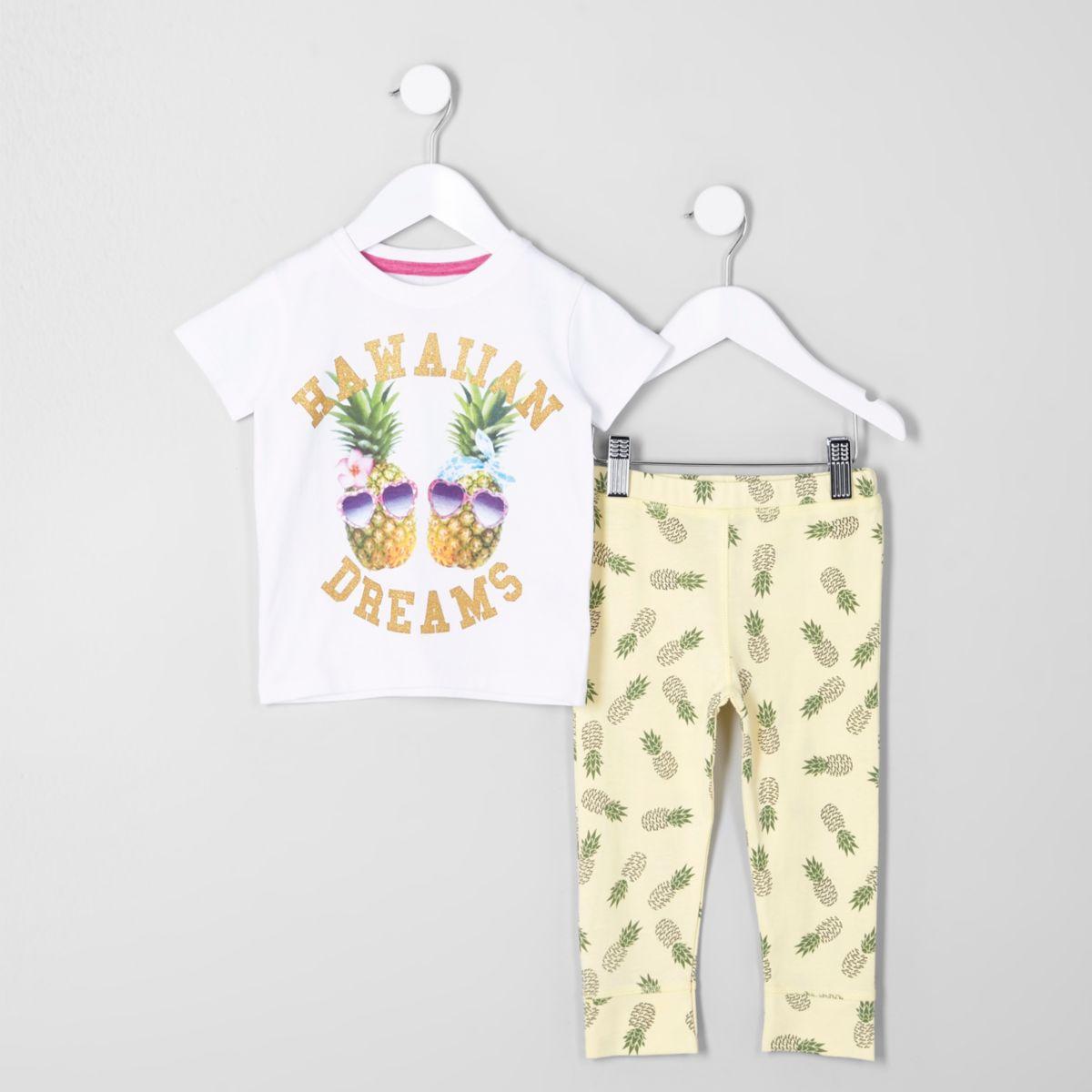 Mini girls yellow pineapple print pajama set