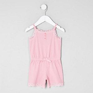 Mini girls pink cami lace pajama romper