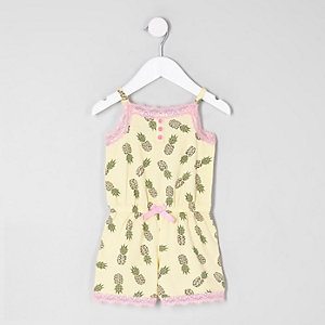 Mini girls yellow print lace pyjama playsuit