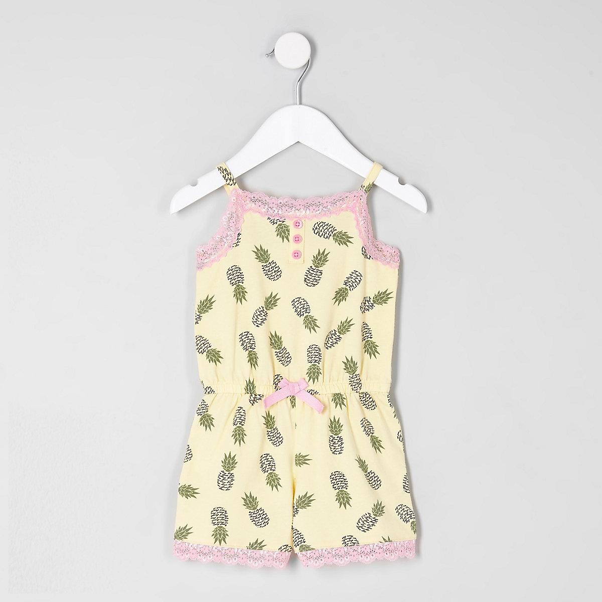 Combi-short pyjama imprimé jaune à dentelle mini fille - Pyjamas ... 83cf11fd364
