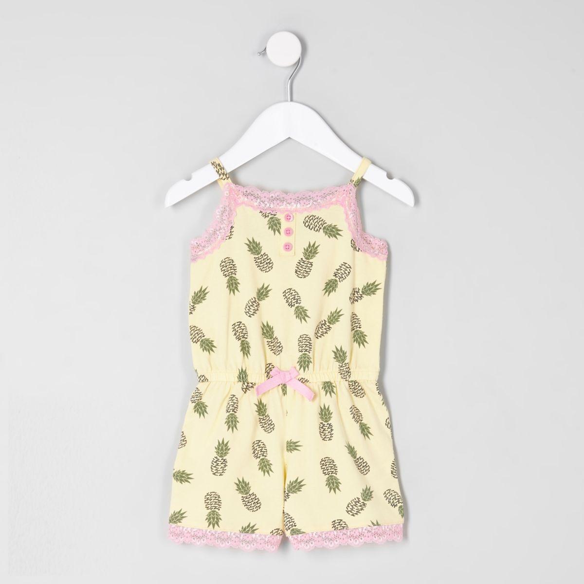 Mini girls yellow print lace pajama romper