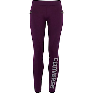 Girls Converse purple zip side leggings