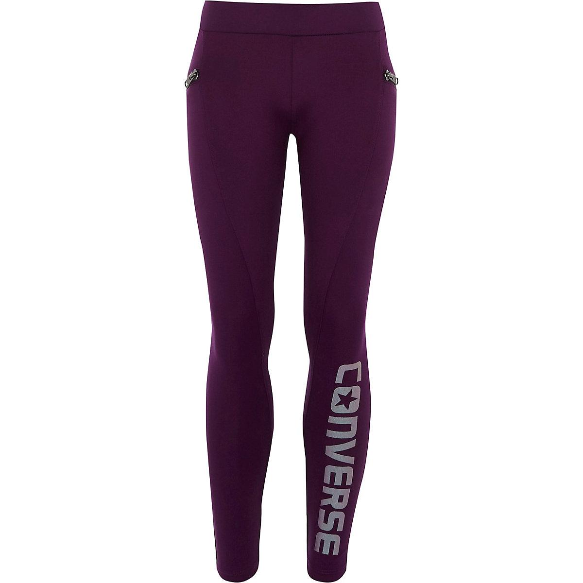 Girls Converse purple zip side leggings