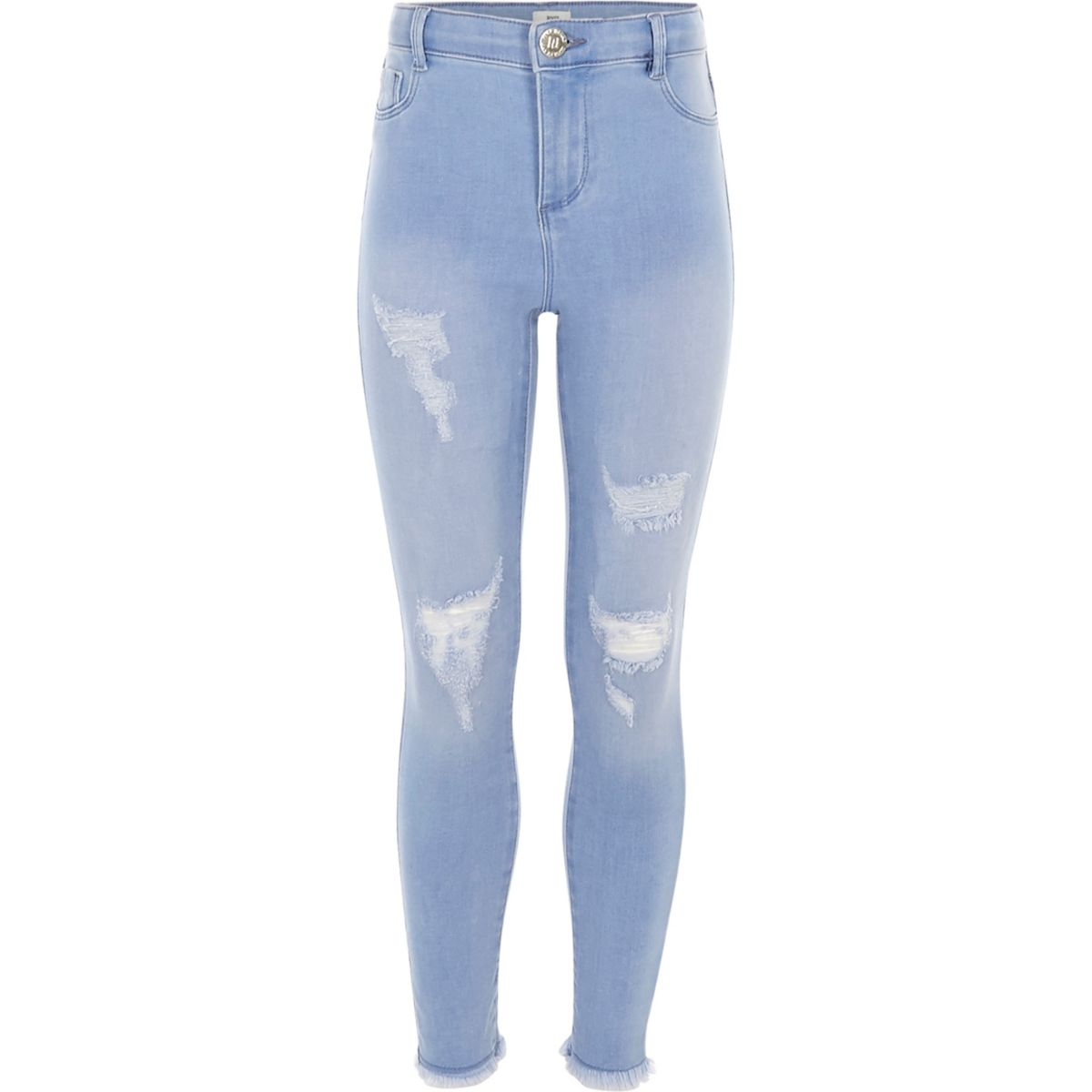 Girls blue Molly ripped high waisted jeggings