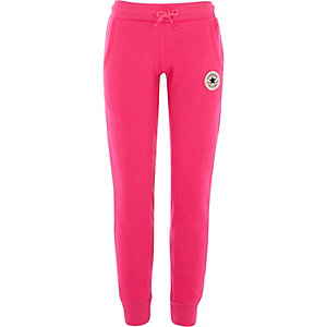 Girls bright pink Converse joggers