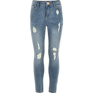 Amelie - Blauwe ripped superskinny jeans voor meisjes