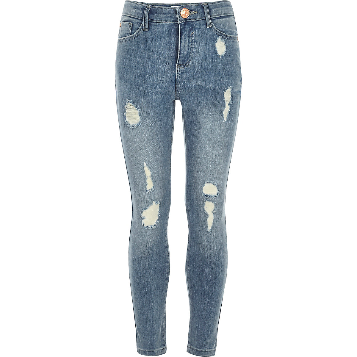 Girls blue ripped Amelie super skinny jeans