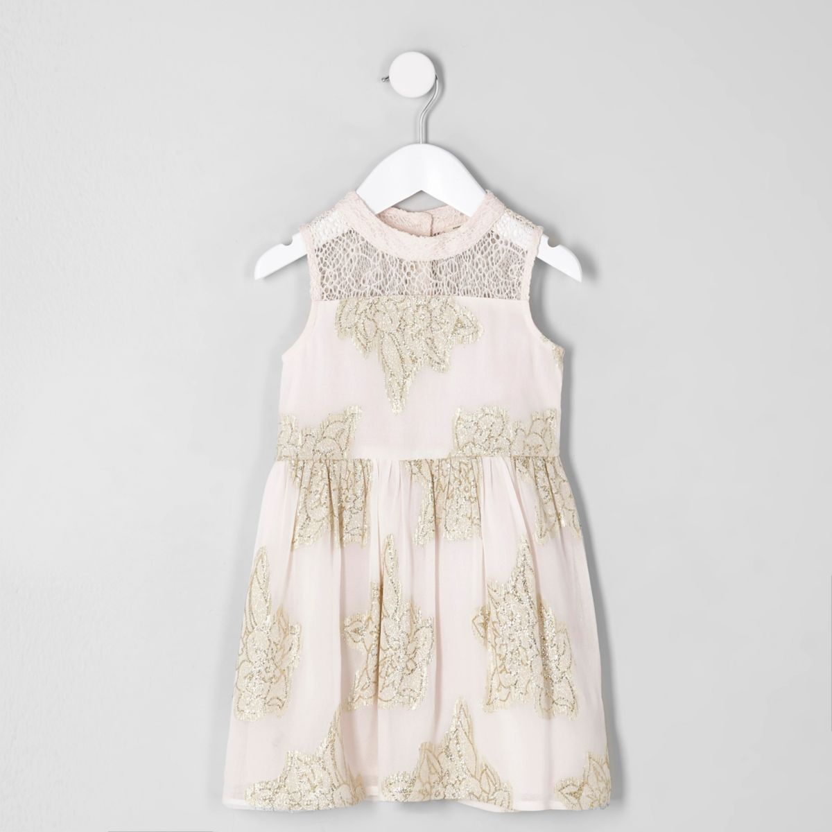 Mini girls pink metallic leaf prom dress