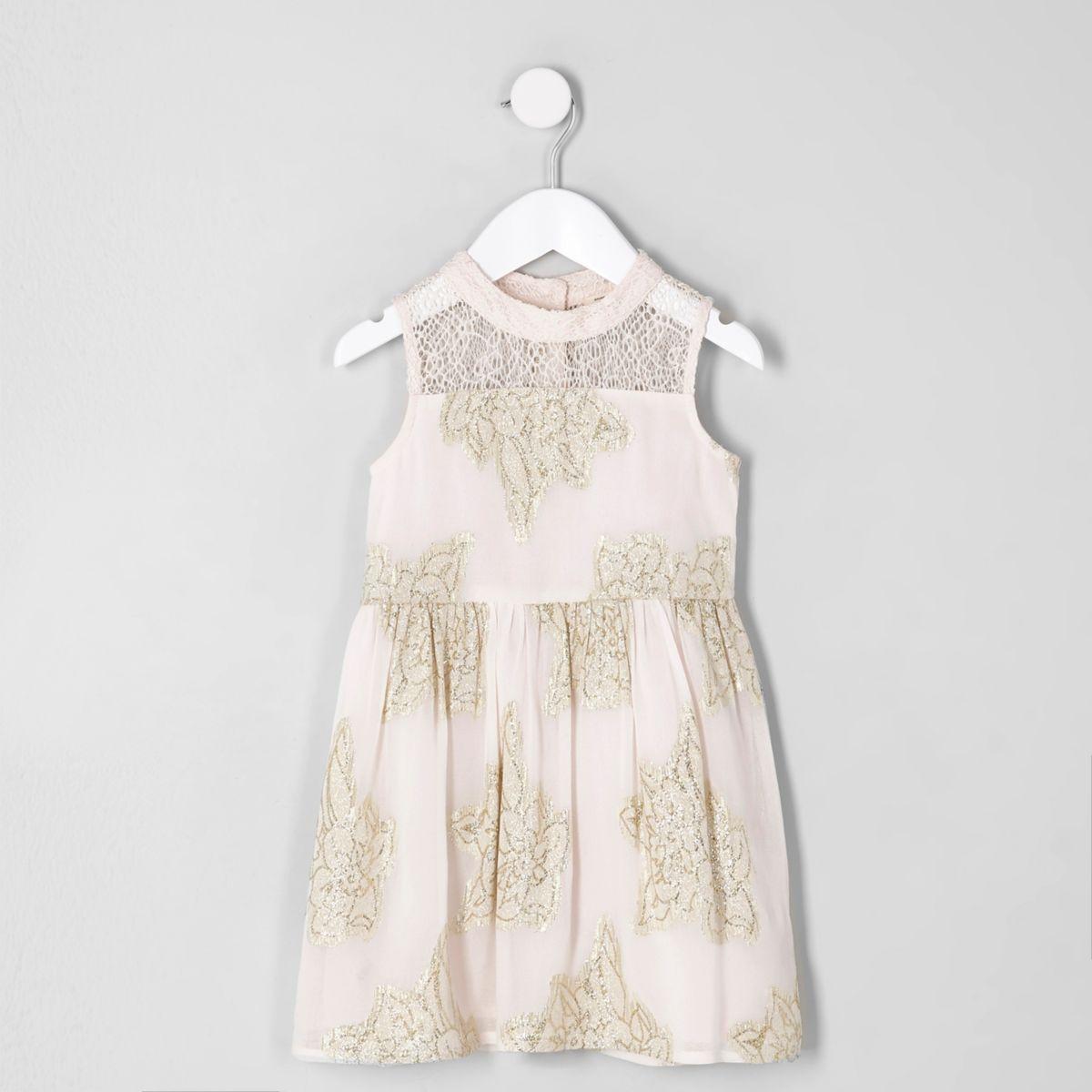 Robe de gala rose imprimé feuillage métallisé mini fille