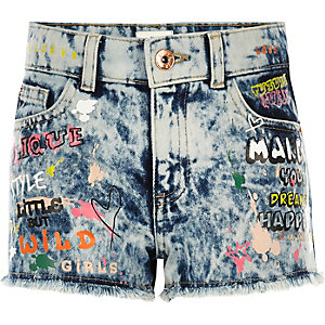 Girls blue graffiti relaxed denim shorts