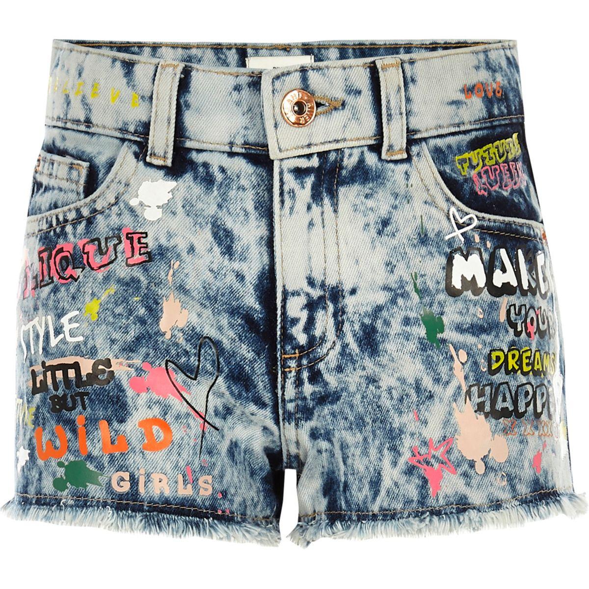 Girls blue graffiti relaxed denim shorts