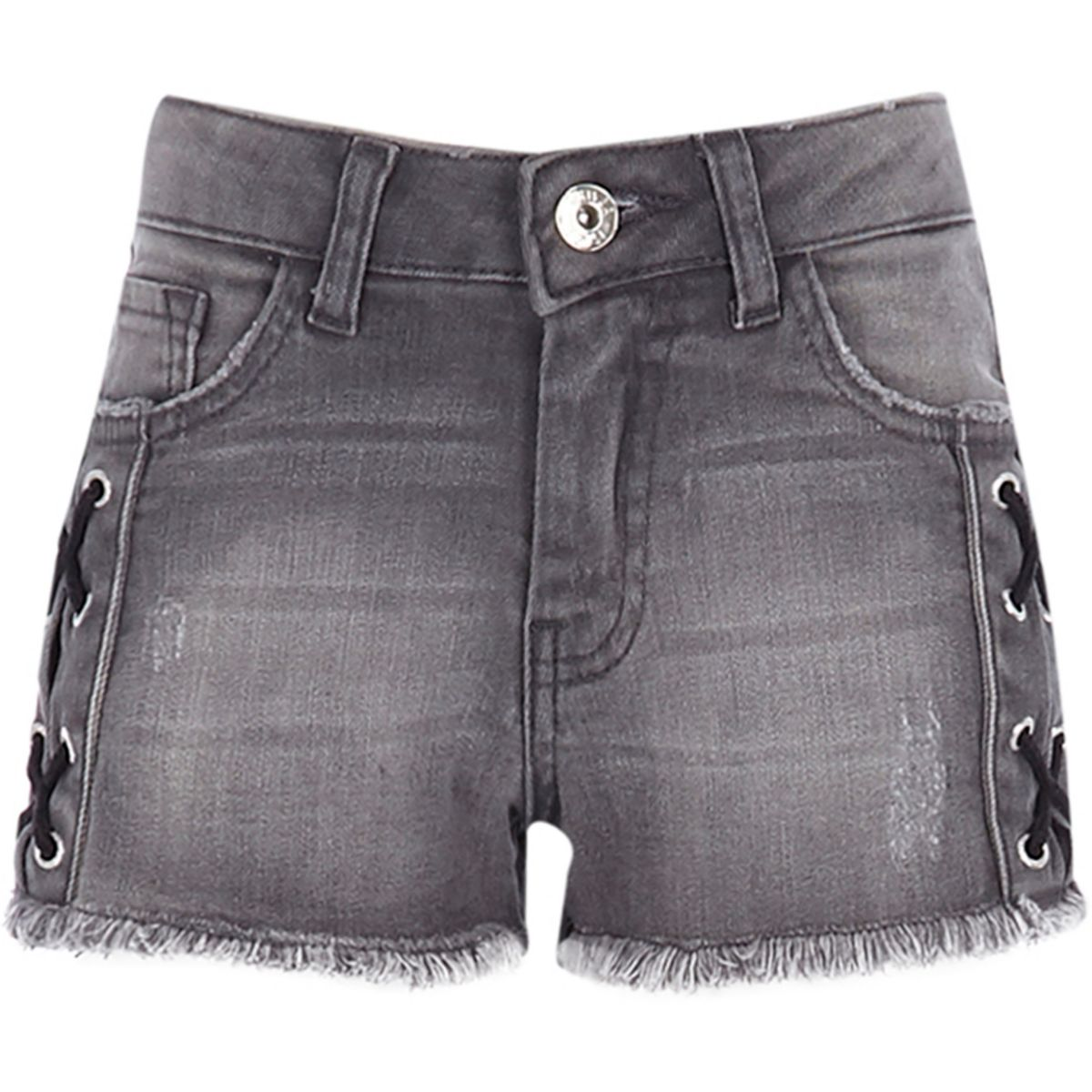 Girls washed black eyelet denim shorts