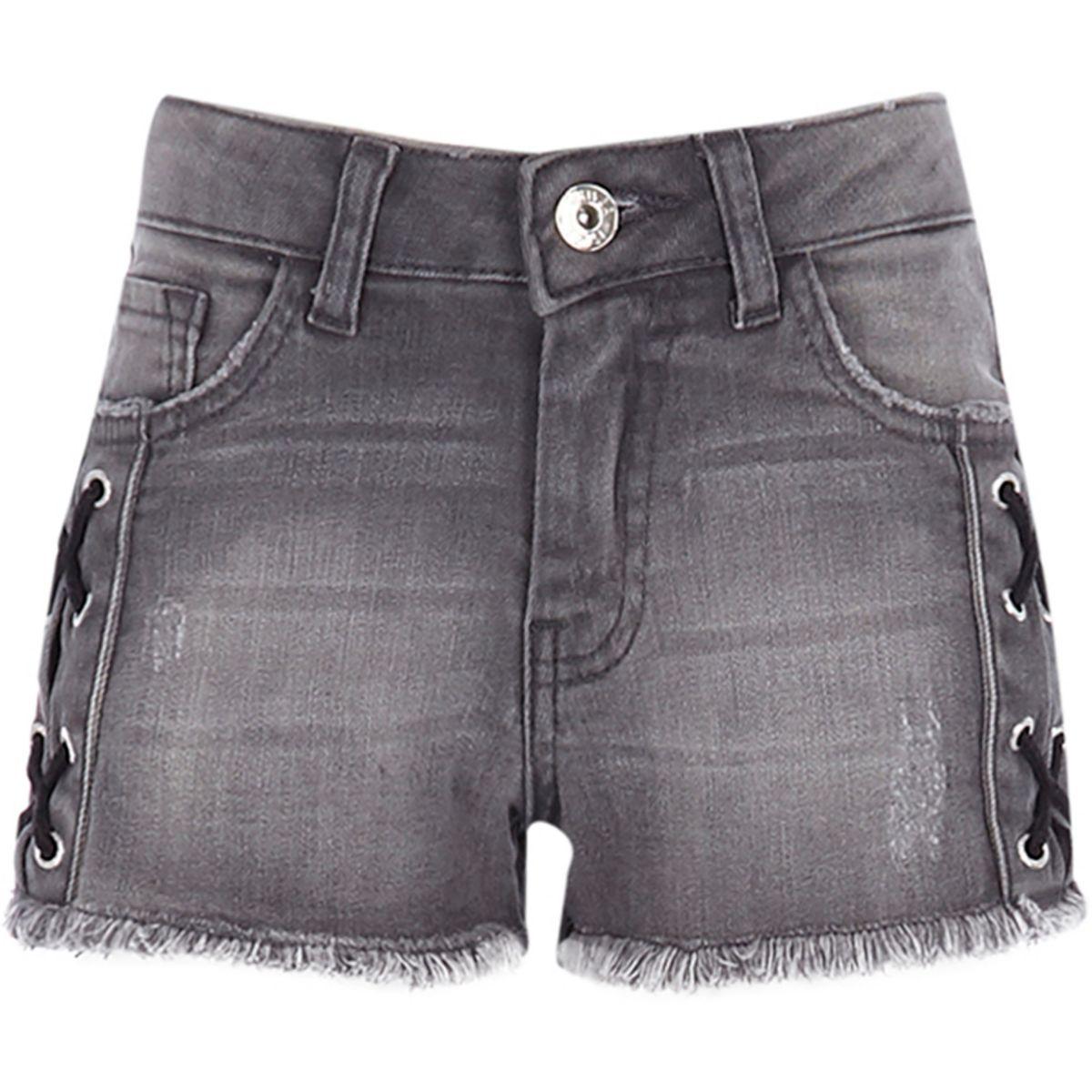 Girls washed black eyelet denim shorts