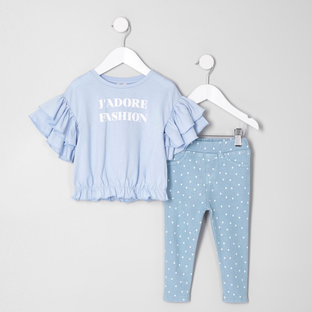 Mini girls blue top and spot leggings outfit