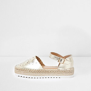 Girls gold laser cut espadrille sandals