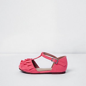 Mini girls pink ruffle T-bar shoes