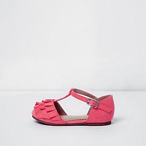 Mini girls pink ruffle T-bar shoes
