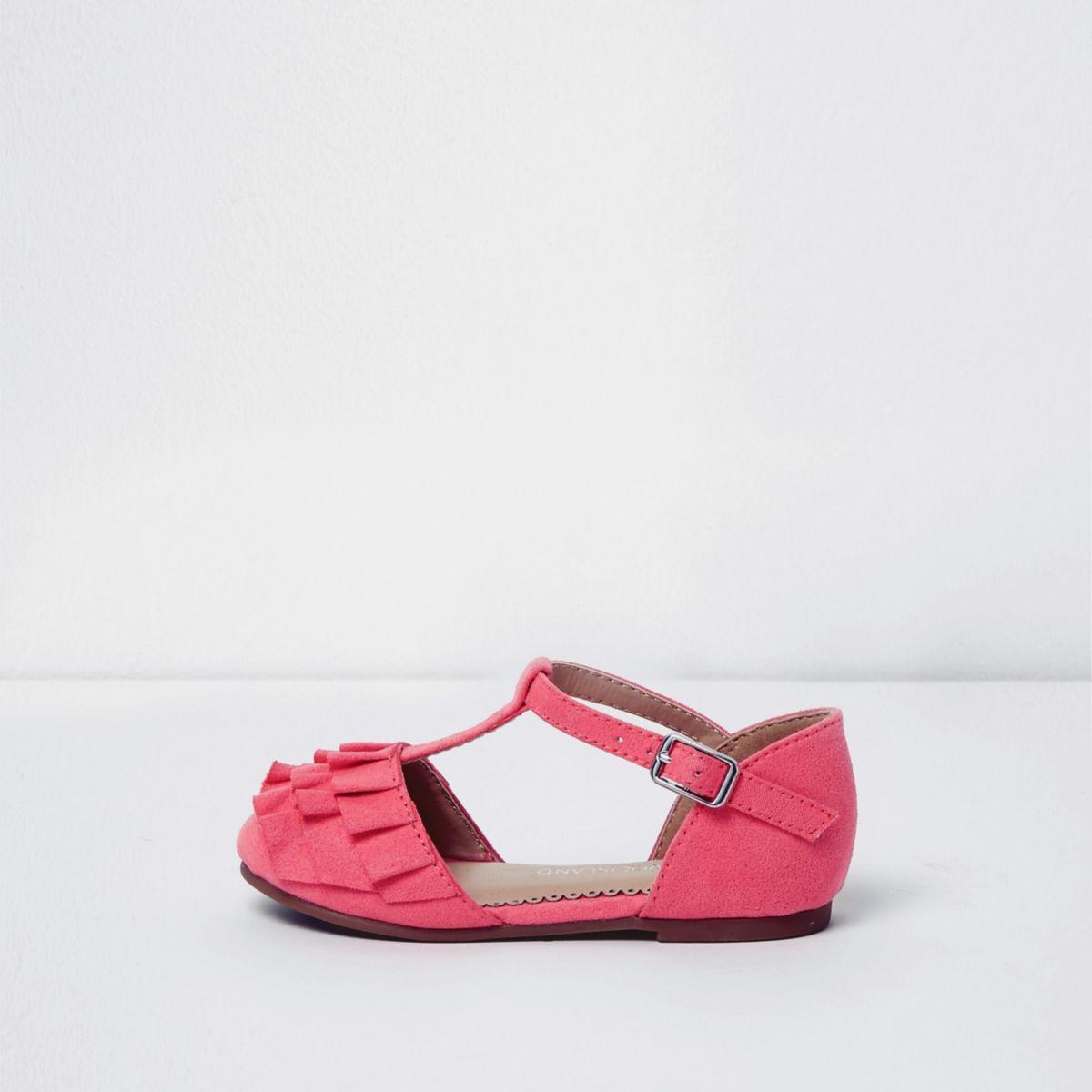 Chaussures rose style salomé à volants mini fille