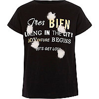 Girls black 'tres bien' pom pom T-shirt