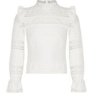 Girls white lace fringe long sleeve top