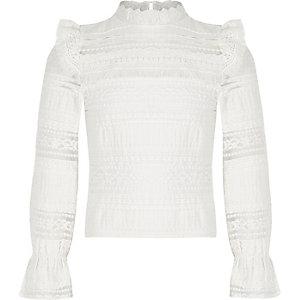 Girls white lace fringe long sleeve top