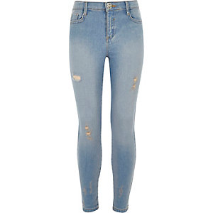 Girls blue distressed Amelie skinny jean