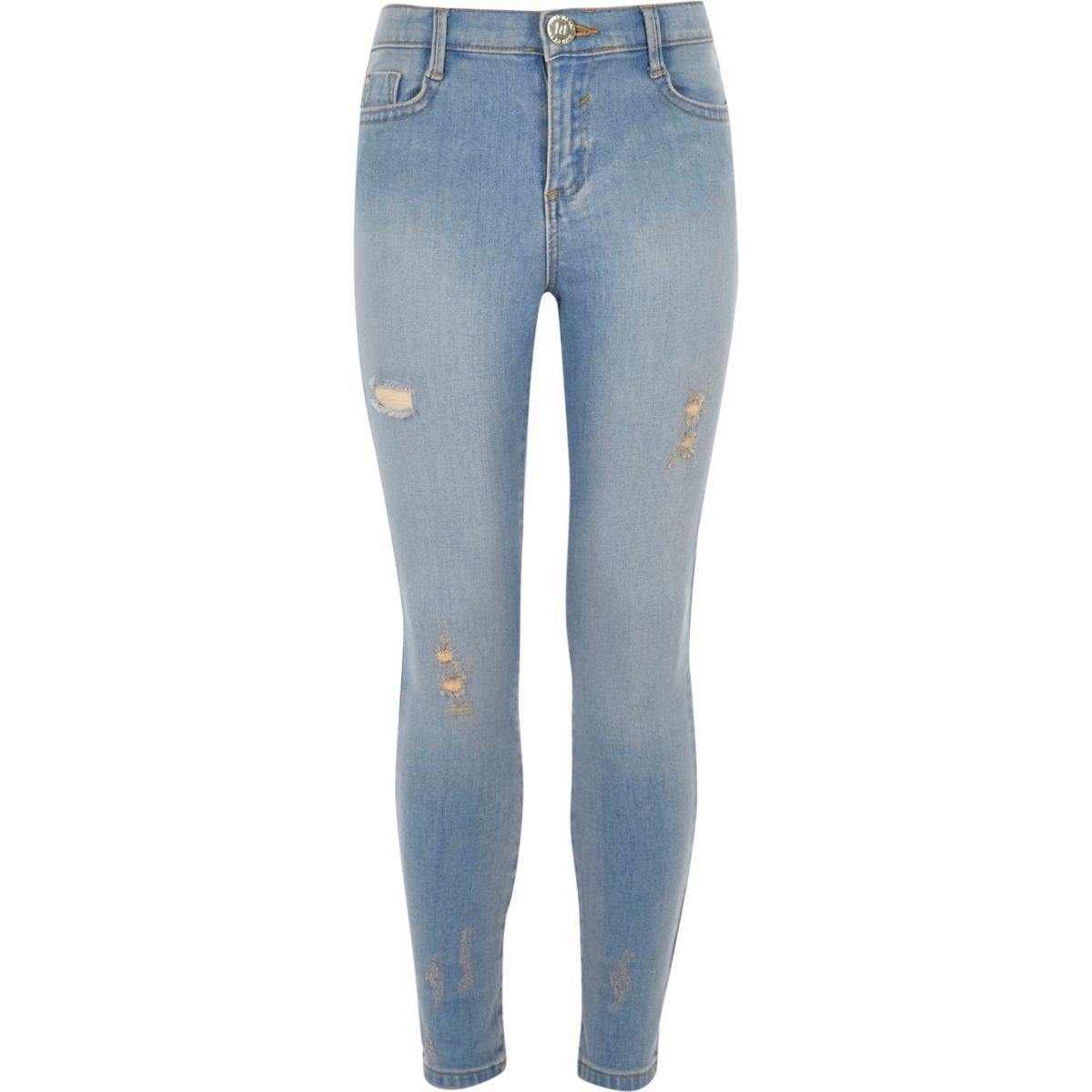 Girls blue distressed Amelie skinny jean