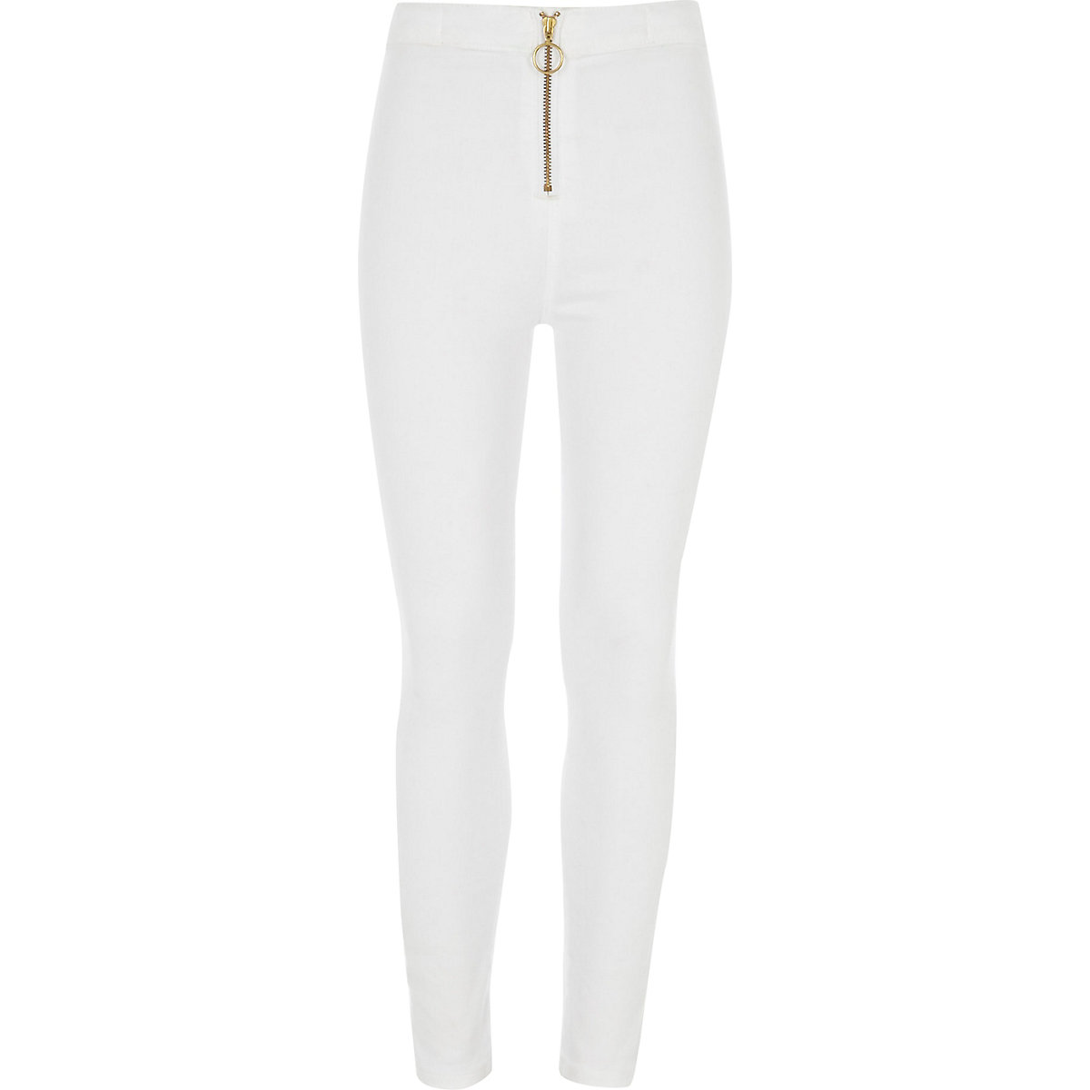 Girls white Molly zip front jeggings