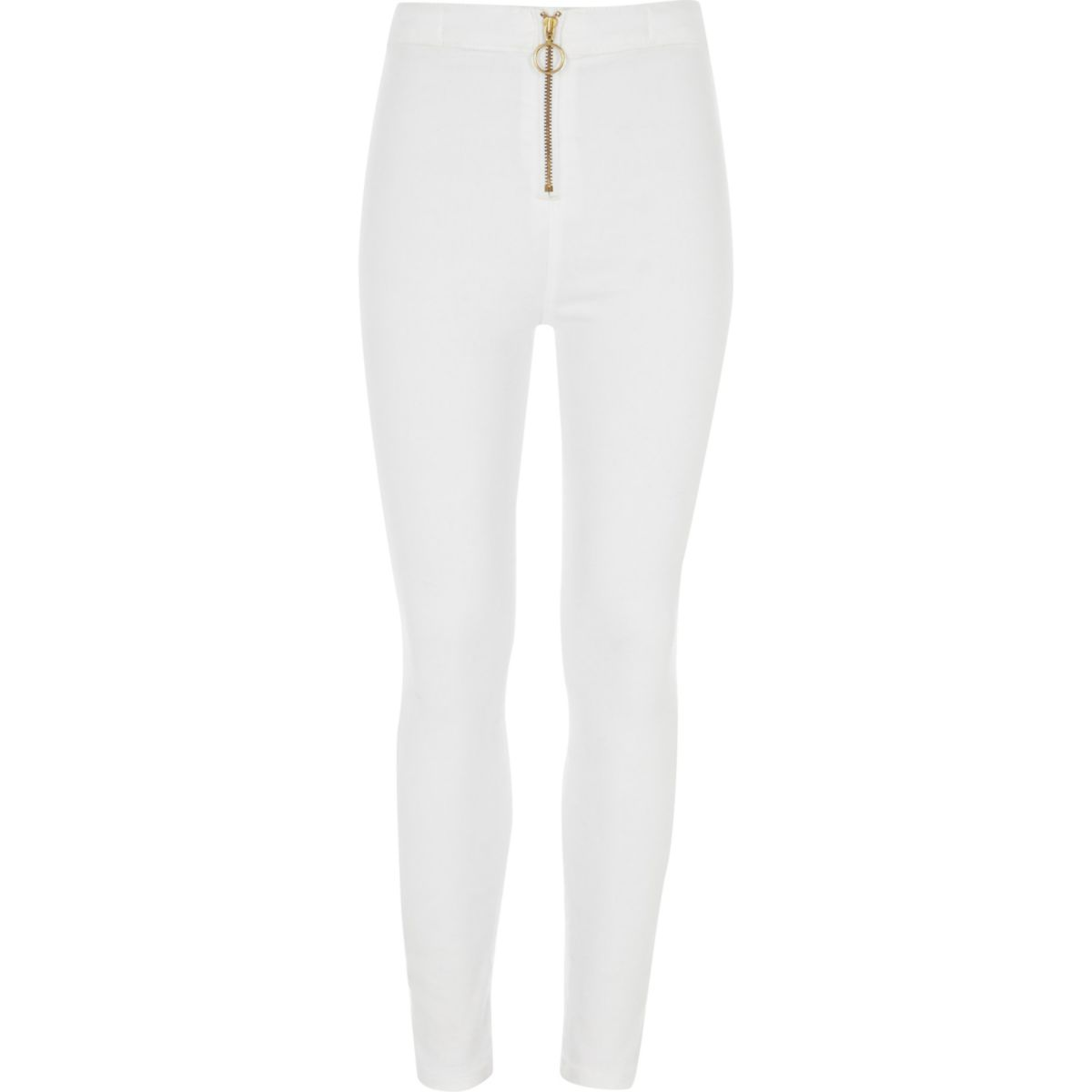 Girls white Molly zip super skinny jeans