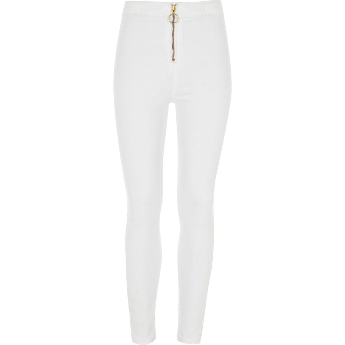 Molly – Jean super skinny blanc zippé pour fille