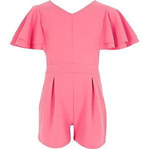 Playsuit in Pink mit Rüschenärmeln
