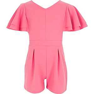Girls pink frill sleeve romper