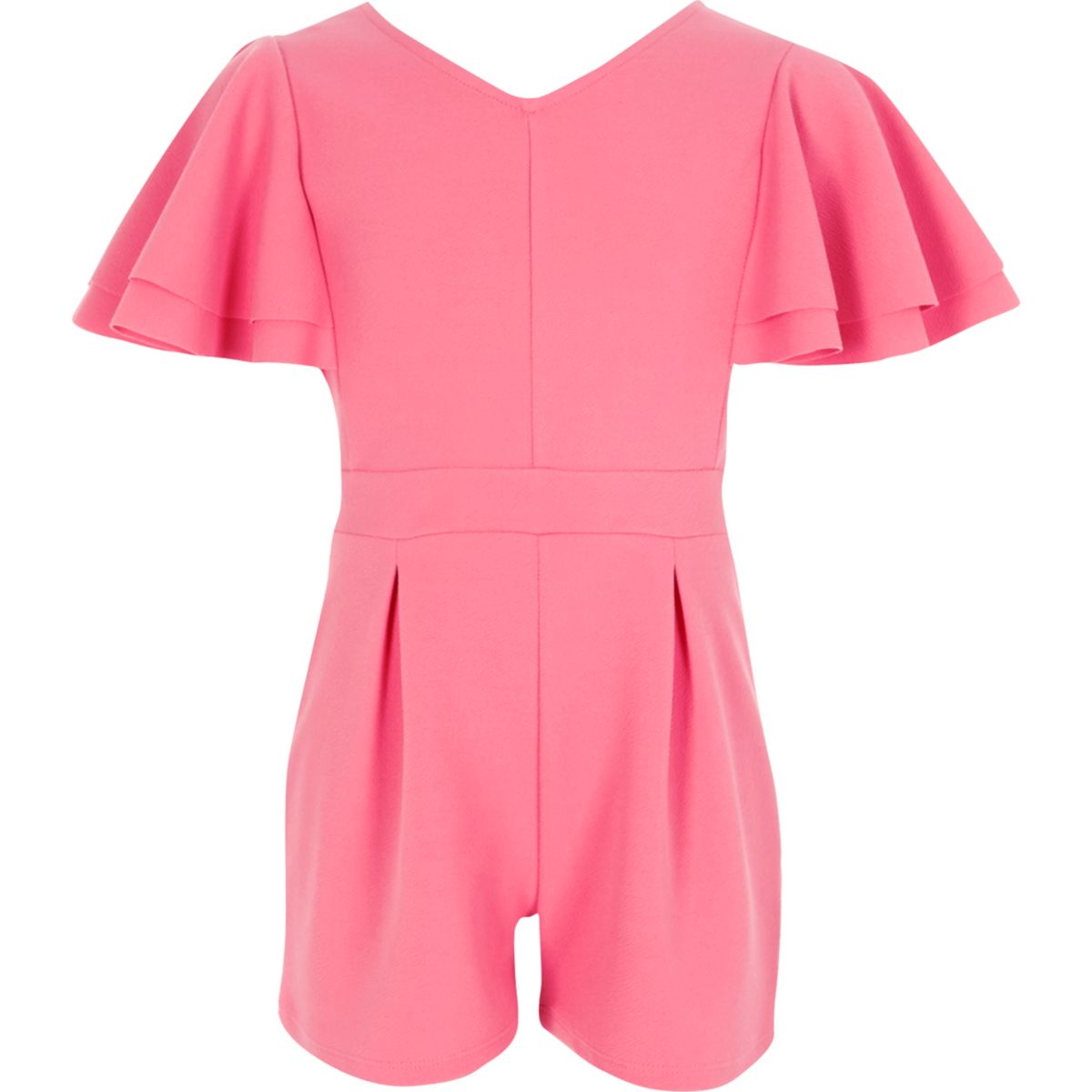 Girls pink frill sleeve playsuit