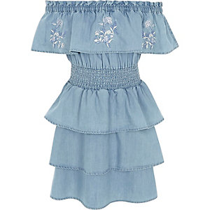Girls blue denim rara frill bardot dress