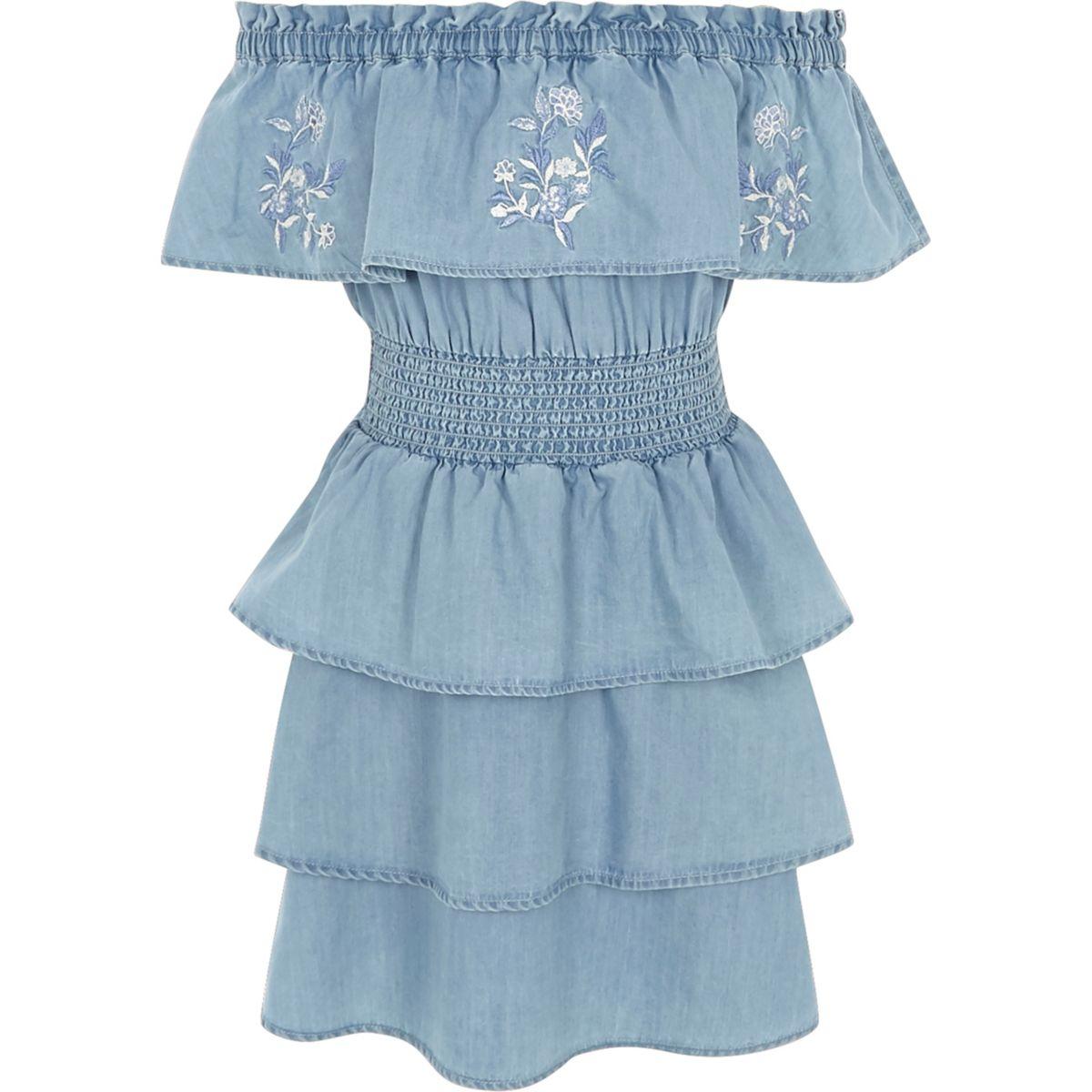 Girls blue denim rara frill bardot dress