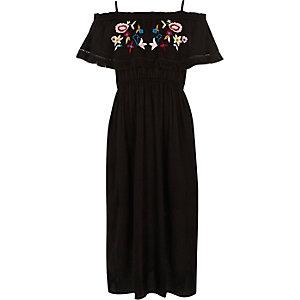 Zwarte geborduurde maxi-jurk met ruches voor meisjes