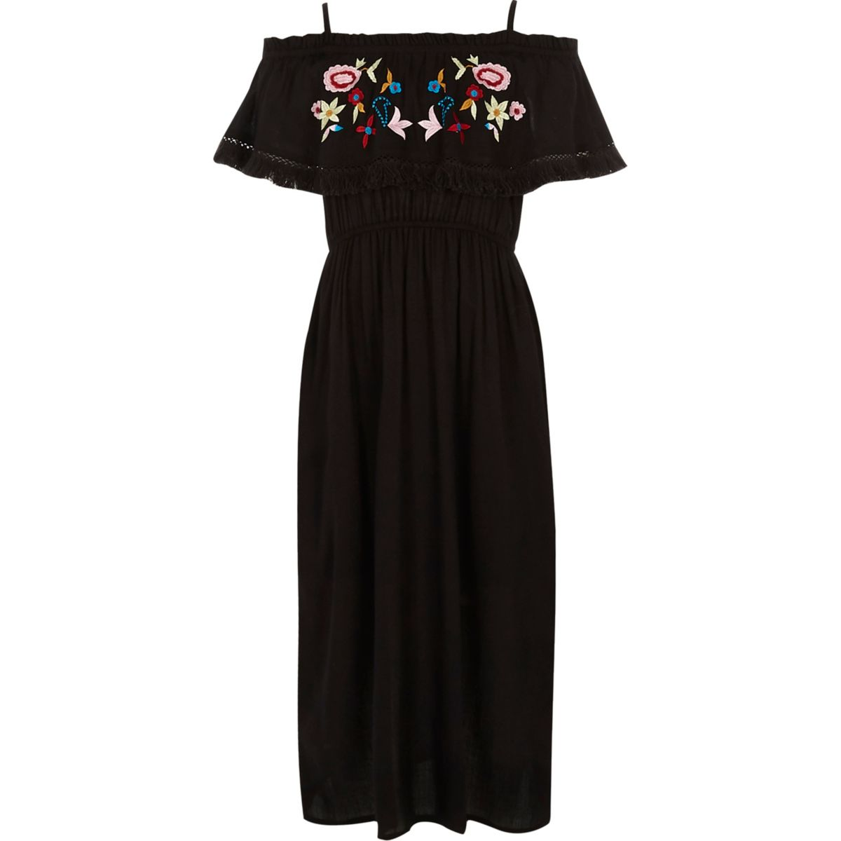 Girls black embroidered frill maxi dress