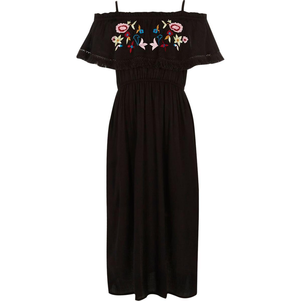Robe longue noire brodée à volants pour fille