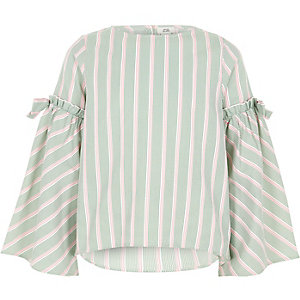 Girls green stripe bow bell sleeve top